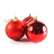 Bola de Natal Vermelha Mista 6cm - 10 Unidades