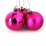 Bola de Natal Pink Mista 5cm - 10 Unidades