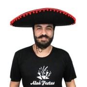 Chapéu Mexicano Sombrero - Preto