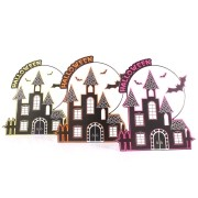 Placas Decorativas Castelo Halloween Neon - 6 Unidades