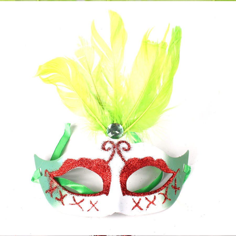 Máscara Penas Degradê Verde
