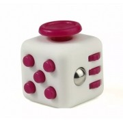 Fidget Cube Spinner Branco com Rosa - Rolamento Anti Estresse Fidget Cube Spinner