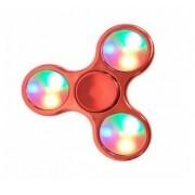 Hand Spinner Cromado com LED Vermelho - Rolamento Anti Estresse Fidget Hand Spinner