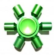 Hand Spinner de Metal Verde 6 pontas - Rolamento Anti Estresse Fidget Hand Spinner