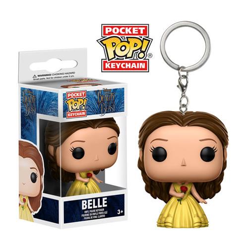 EM BREVE: Pocket Pop Chaveiro (Keychains) Bela (Belle) com Vestido Amarelo: Disney: A Bela e a Fera - Funko