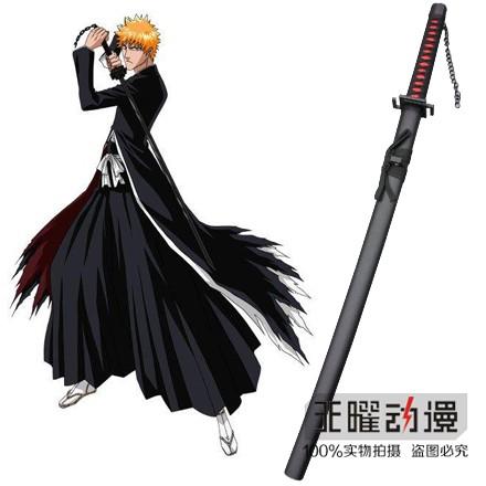 Espada Ichigo Tensa Zangetsu: Bleach com Lâmina Serrada Preta