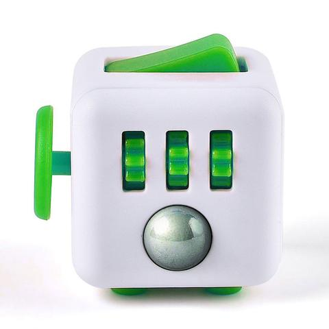 Fidget Cube Spinner Branco com Verde Escuro - Rolamento Anti Estresse Fidget Cube Spinner