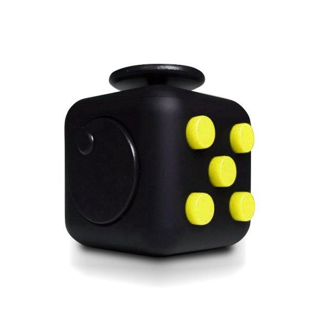 Fidget Cube Spinner Preto com Amarelo - Rolamento Anti Estresse Fidget Cube Spinner