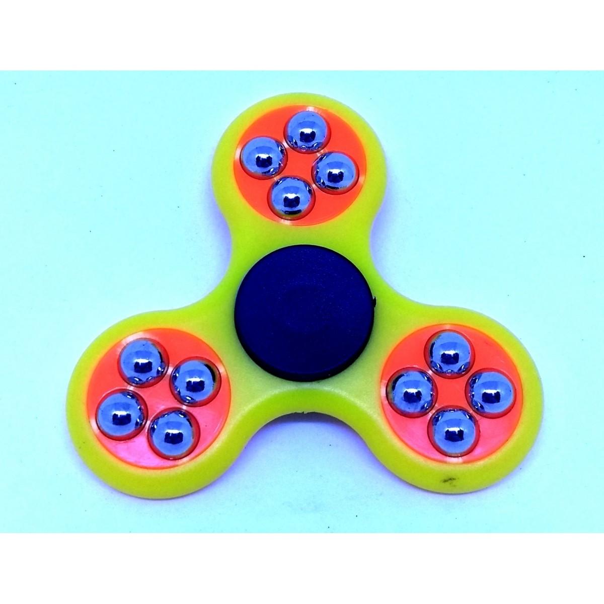 Hand Spinner com bolinhas Amarelo e Laranja - Rolamento Anti Estresse Fidget Hand Spinner