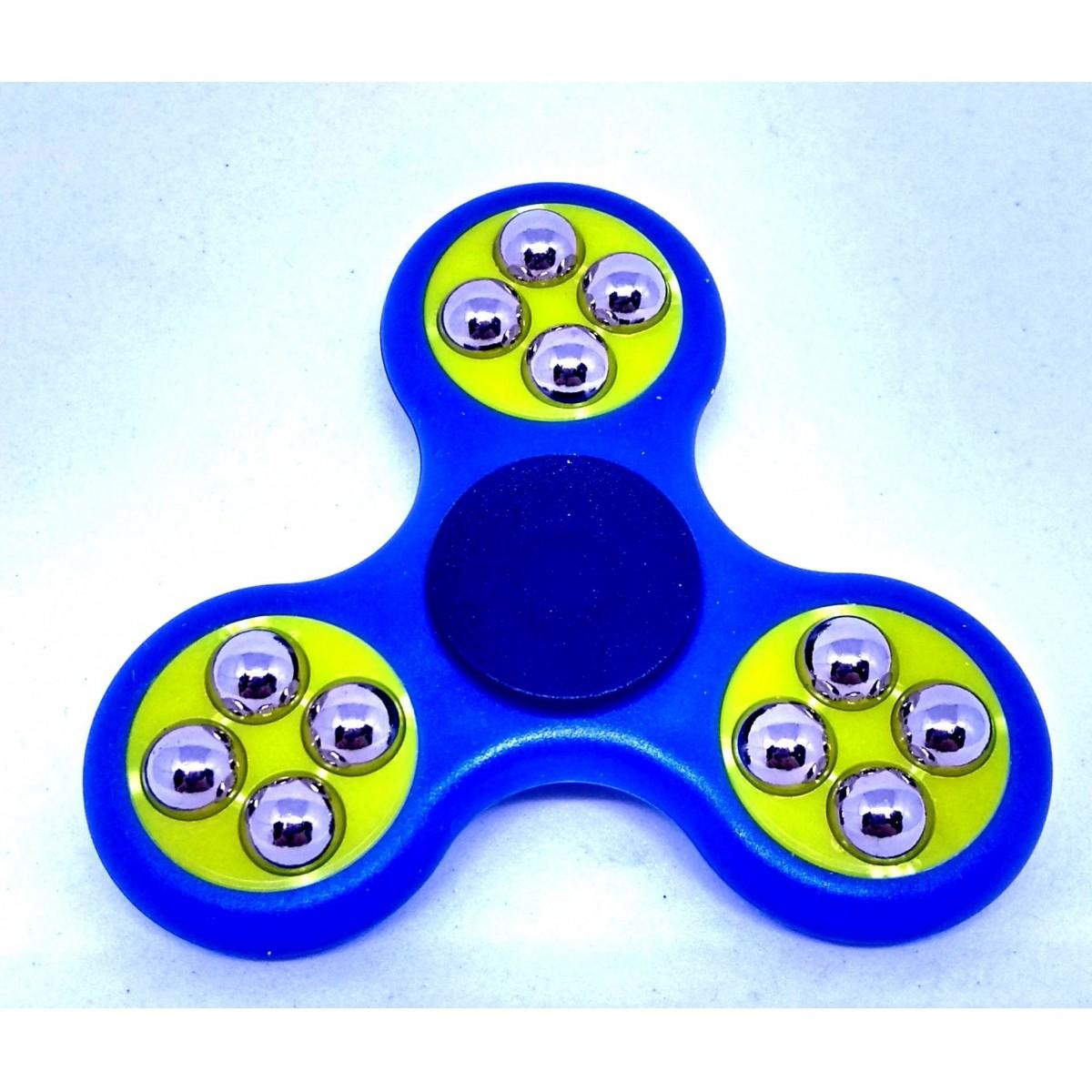 Hand Spinner com bolinhas Azul e Amarelo - Rolamento Anti Estresse Fidget Hand Spinner