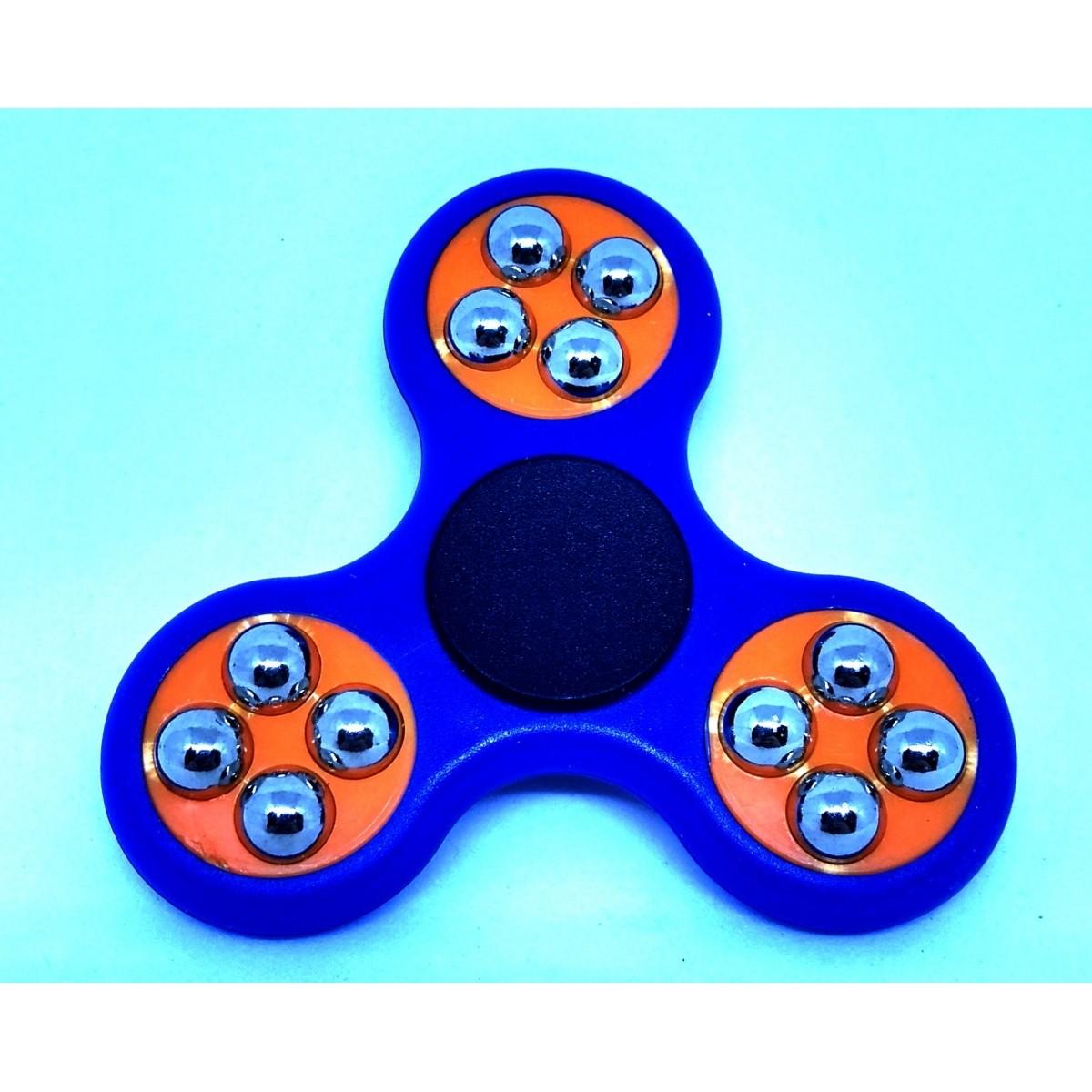 Hand Spinner com bolinhas Azul e Laranja - Rolamento Anti Estresse Fidget Hand Spinner