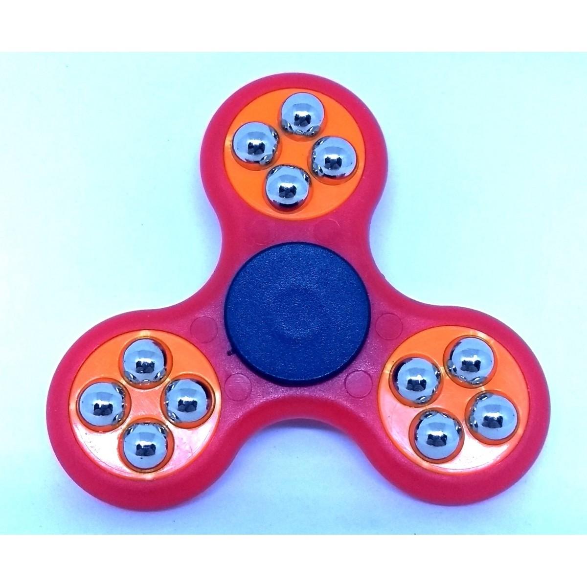 Hand Spinner com bolinhas Vermelho e Laranja - Rolamento Anti Estresse Fidget Hand Spinner