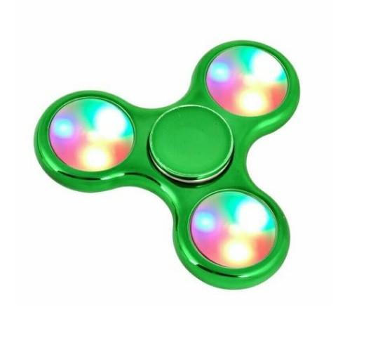 Hand Spinner Cromado com LED Verde  - Rolamento Anti Estresse Fidget Hand Spinner