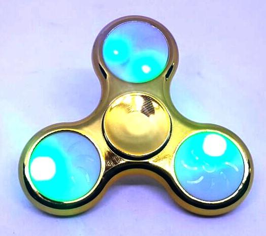 Hand Spinner Cromado com LED Dourado - Rolamento Anti Estresse Fidget Hand Spinner