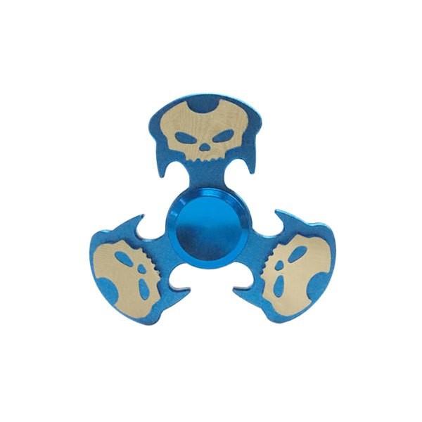 Hand Spinner de Caveira Azul e Dourado - Rolamento Anti Estresse Fidget Hand Spinner