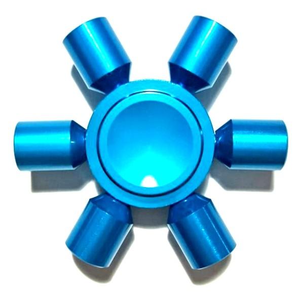 Hand Spinner de Metal Azul 6 pontas - Rolamento Anti Estresse Fidget Hand Spinner