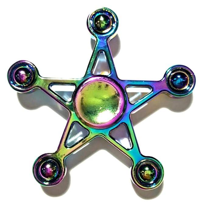 Hand Spinner de Metal Colorido Estrela com bolinha - Rolamento Anti Estresse Fidget Hand Spinner