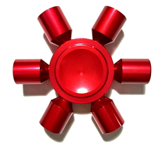 Hand Spinner de Metal Vermelho 6 pontas - Rolamento Anti Estresse Fidget Hand Spinner