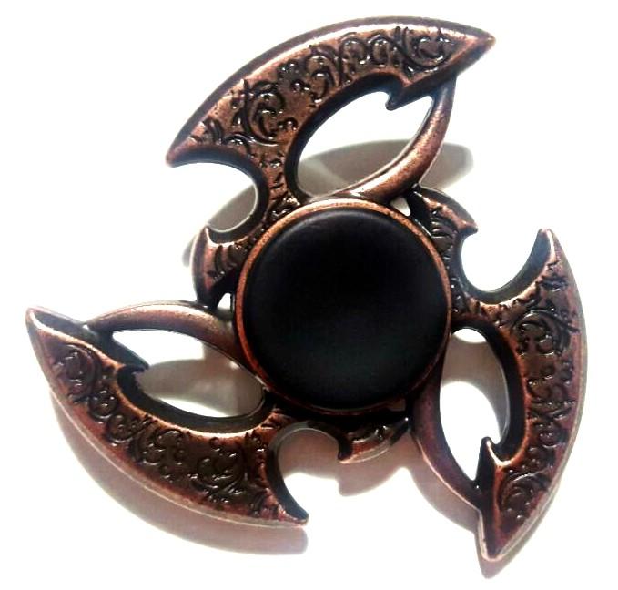 Hand Spinner Metal Bronze com centro Preto - Rolamento Anti Estresse Fidget Hand Spinner