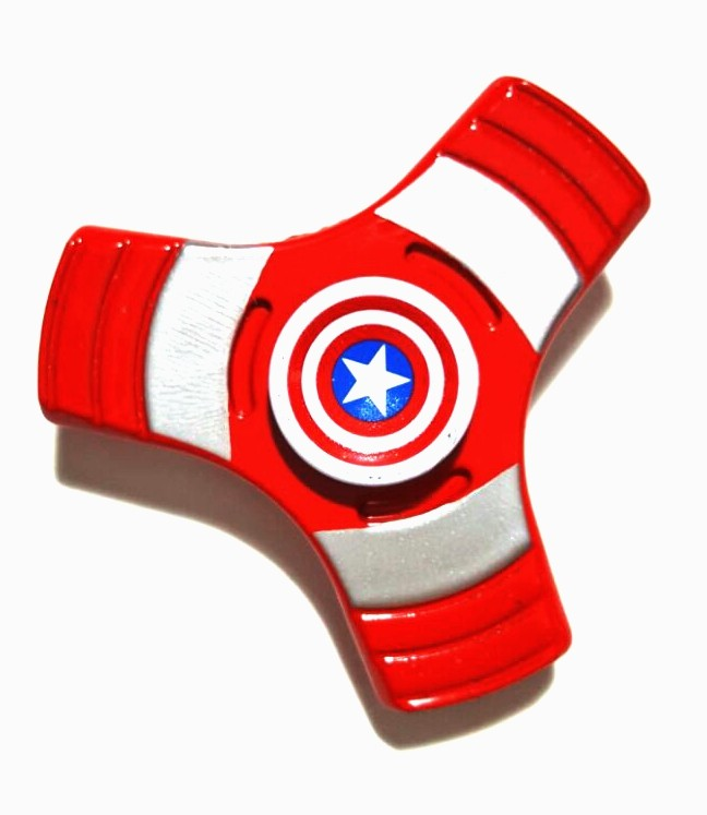 Hand Spinner Metal Capitão América 3 pontos - Rolamento Anti Estresse Fidget Hand Spinner