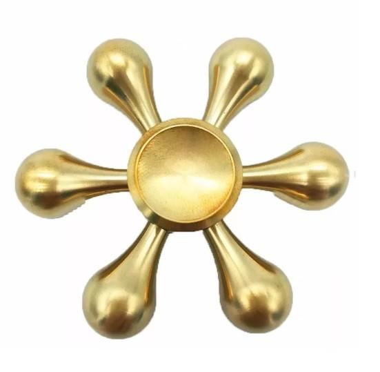 Hand Spinner Metal Dourado 6 pontos - Rolamento Anti Estresse Fidget Hand Spinner