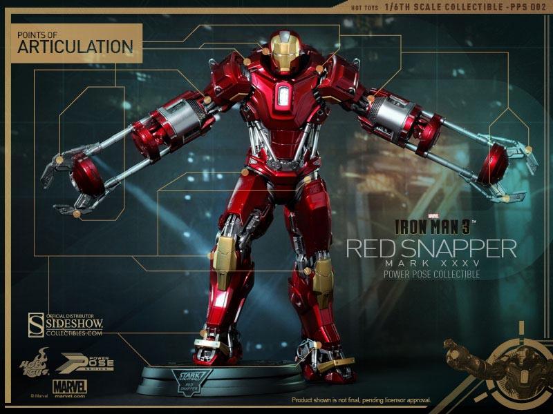 Iron Man 3 (Homem de Ferro 3) Red Snapper Mark XXXV Escala 1/6 - Hot Toys