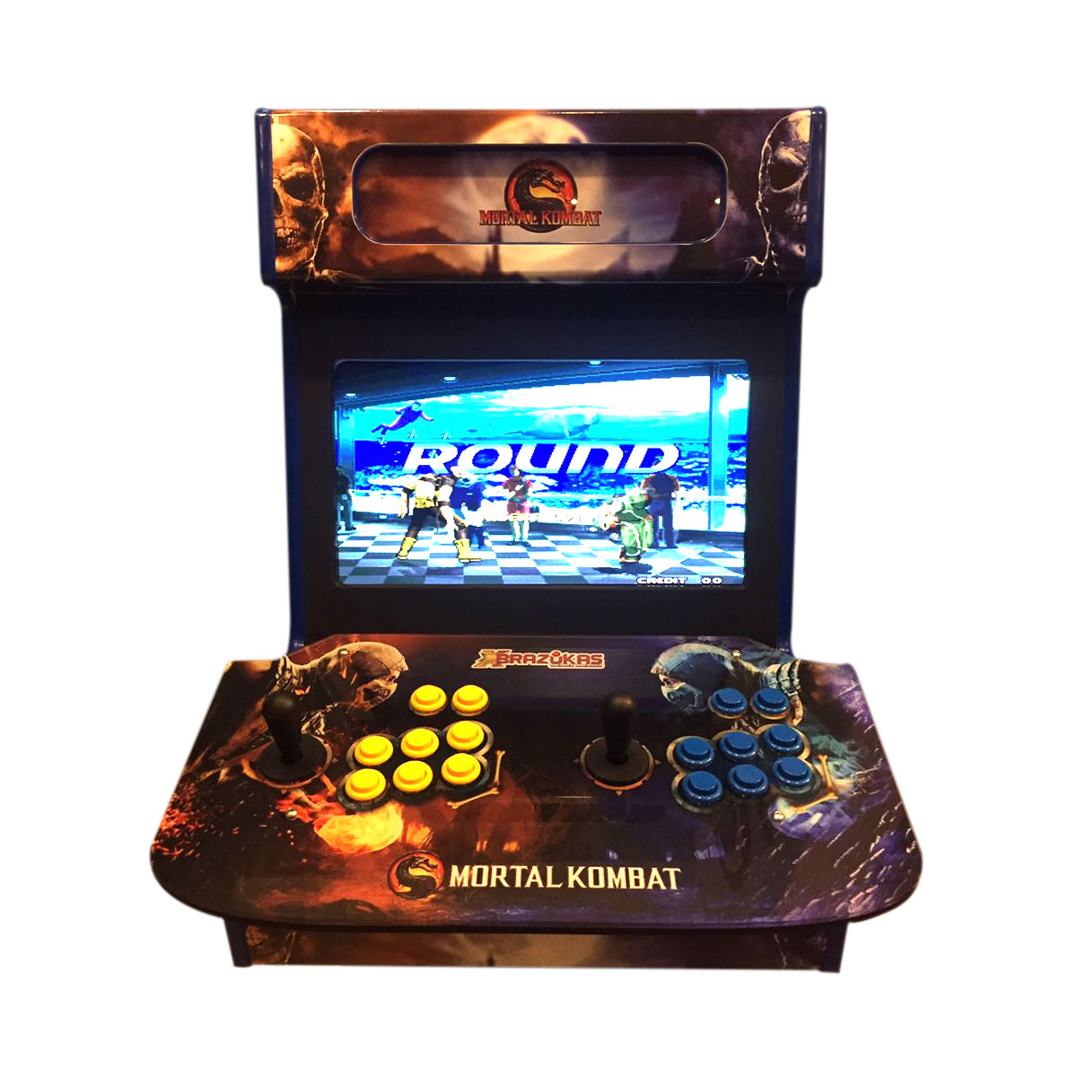 Máquina Fliperama (Controle Duplo Arcade) com Tela e desenho do Mortal Kombat
