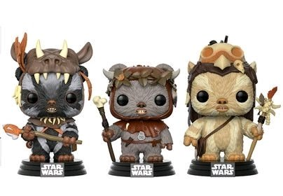 POP Star Wars: Ewok 3 Pack - Teebo, Chirpa, Logray  Exclusivo.