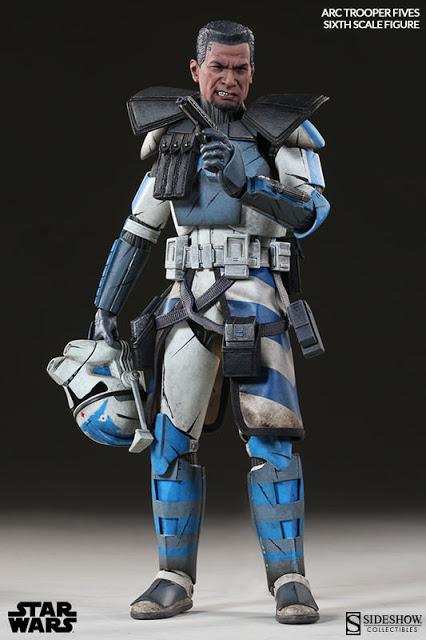 Boneco Clone Trooper Fives: Star Wars Phase II Armor Escala 1/6 - Sideshow - CD
