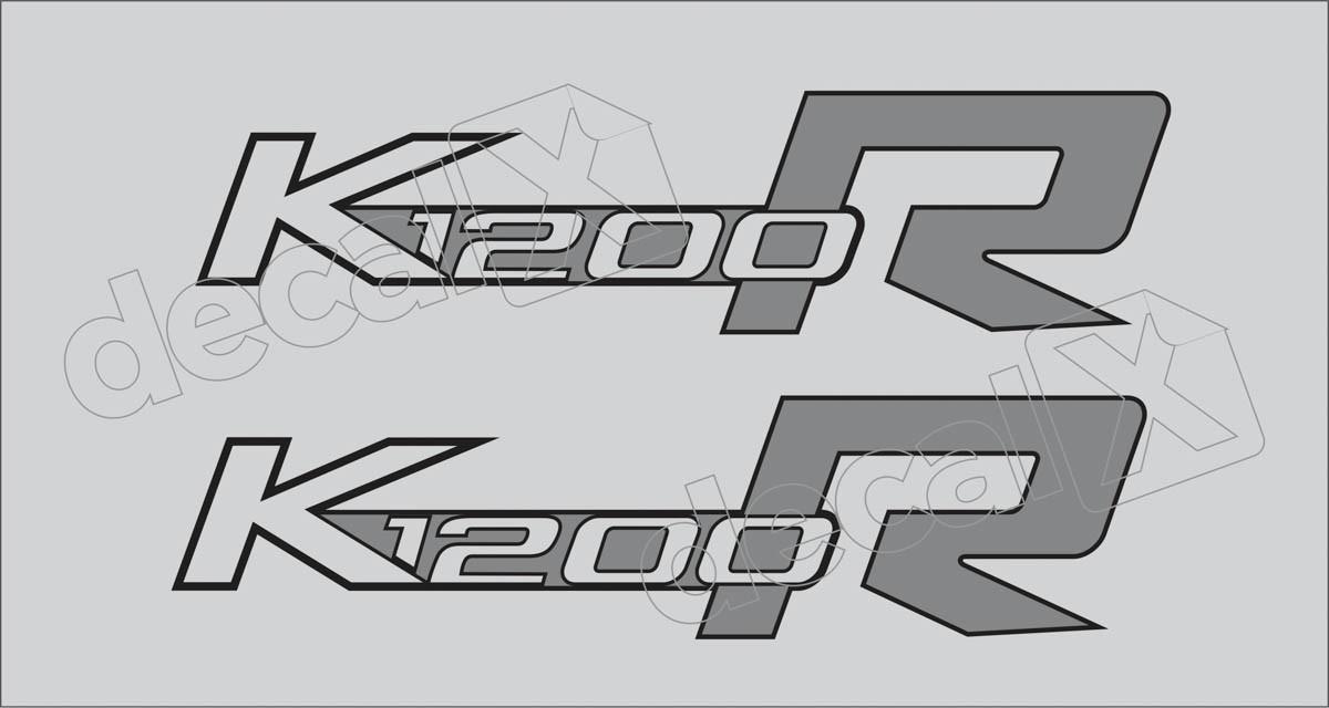 Emblema Adesivo Bmw K1200r Preta E Branca Par Decalx