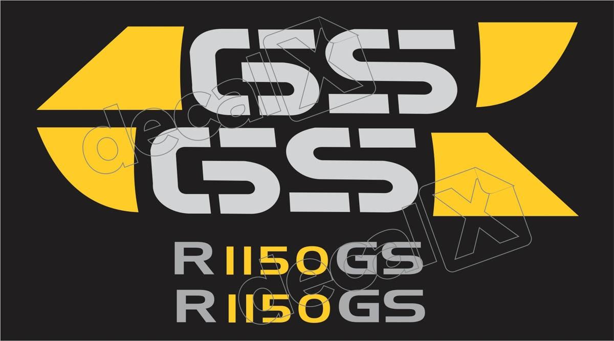 Emblema Adesivo Bmw R1150gs Preta E Amarela Par Decalx