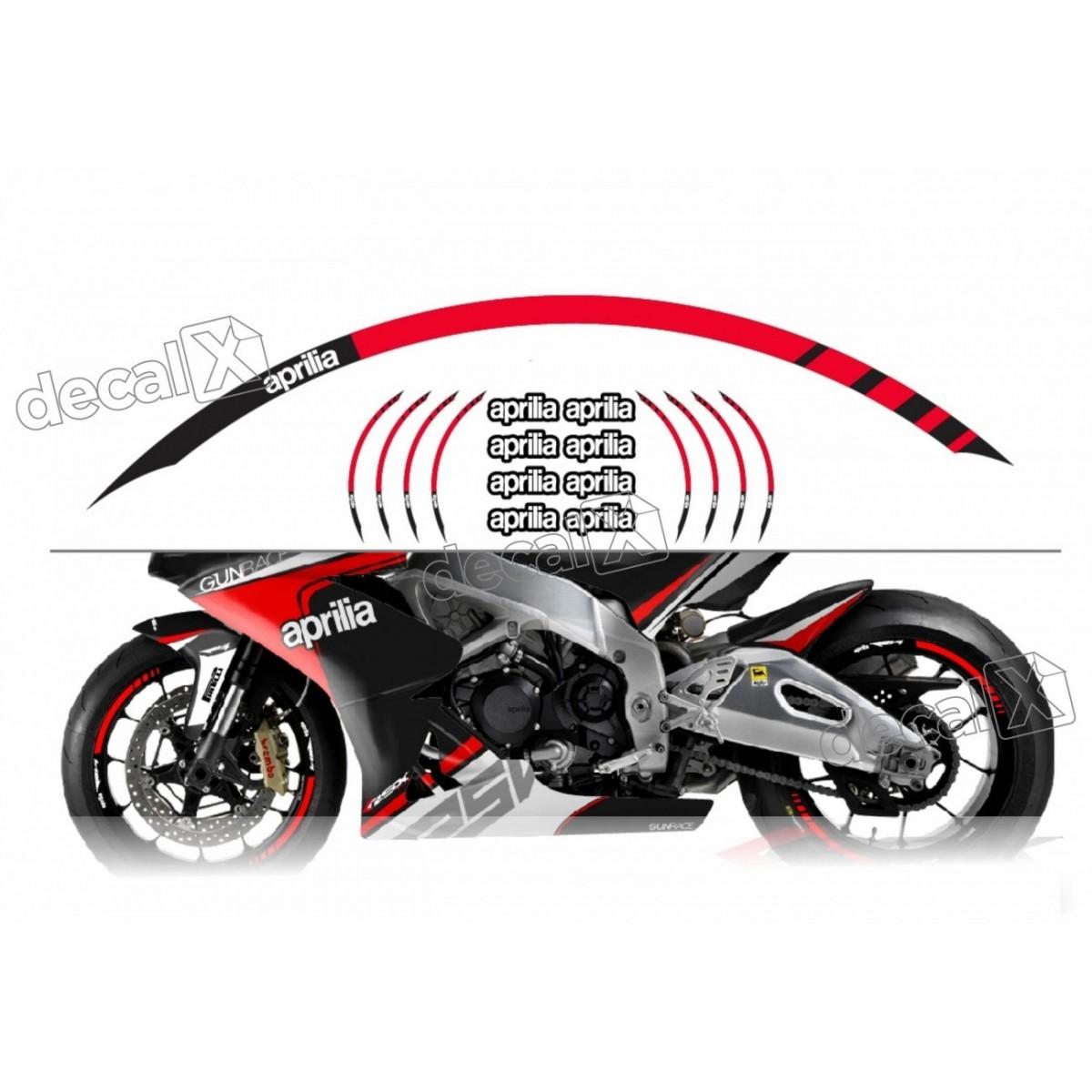 Kit Adesivo Friso Refletivo Roda Moto Aprilia Fri01 Decalx
