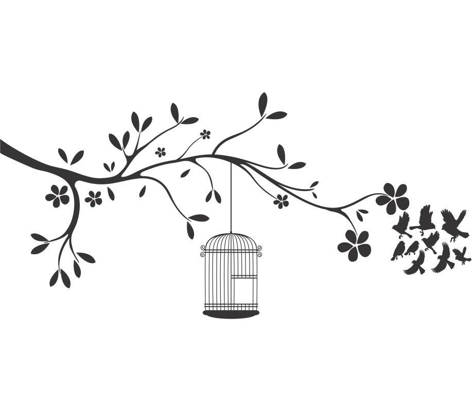 Adesivo de Parede Galho gaiola com pássaro